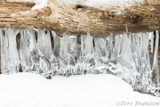Icicles hung from the shingles